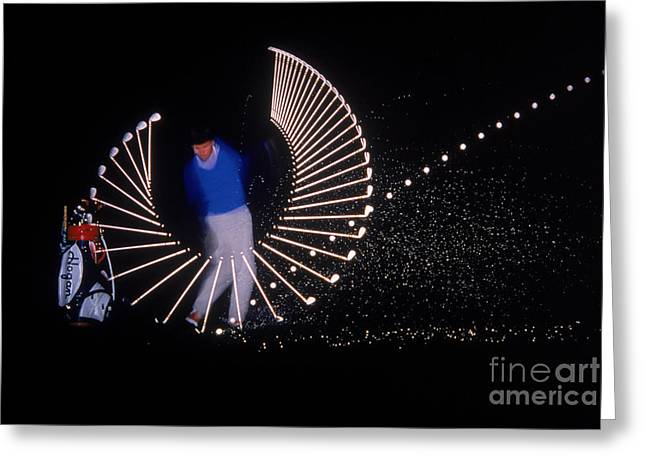 Stroboscopic Greeting Cards - Stroboscopic golf Swing Greeting Card by Michel Hans Vandystadt