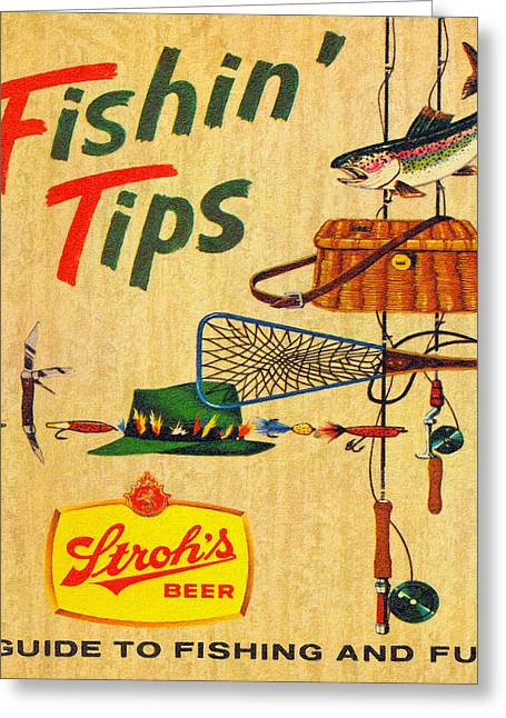 Fishing Rods Drawings Greeting Cards - Strohs Fishin Tips Ad Greeting Card by Big 88 Artworks
