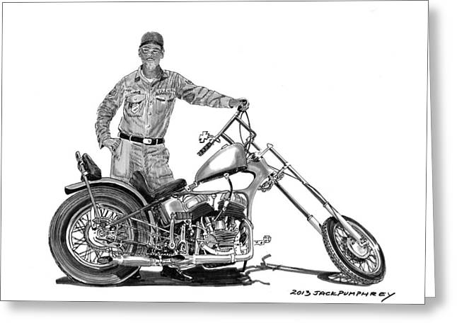 Single Drawings Greeting Cards - Strokers 1948 Harley WLA Greeting Card by Jack Pumphrey