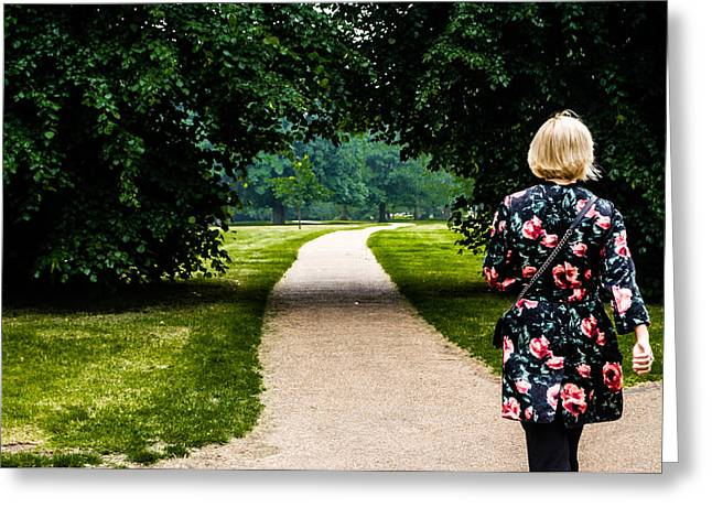 Woman In Summer Meadow Greeting Cards - Stroll in Hyde Park Greeting Card by Georgina Noronha
