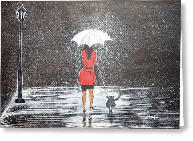 Night Lamp Greeting Cards - Stroll in the Rain Greeting Card by Manjiri Kanvinde