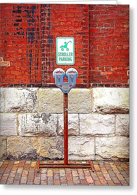 Old Wall Greeting Cards - Stroller Parking in Red Greeting Card by Valentino Visentini