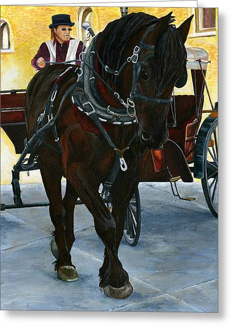 Horse And Buggy Paintings Greeting Cards - Strollin Along Greeting Card by Kimberly Shinn