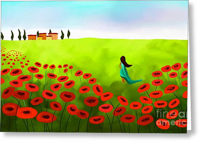 Floral Digital Art Digital Art Greeting Cards - Strolling Among The Red Poppies Greeting Card by Anita Lewis