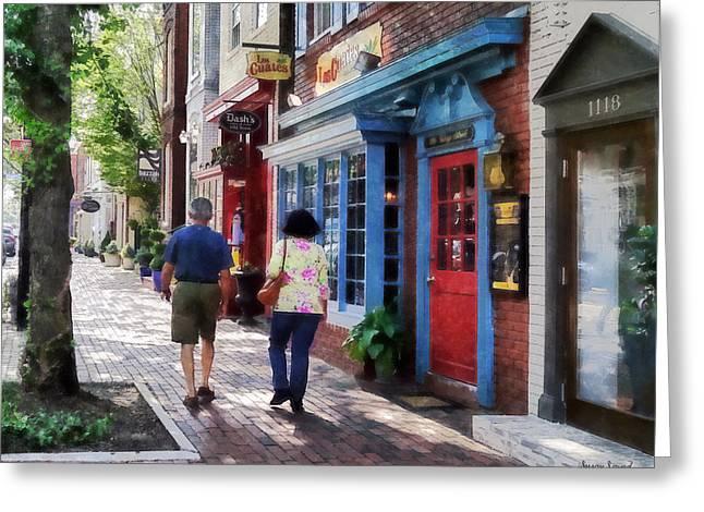 Brick Greeting Cards - Alexandria VA - Strolling Down King Street Greeting Card by Susan Savad