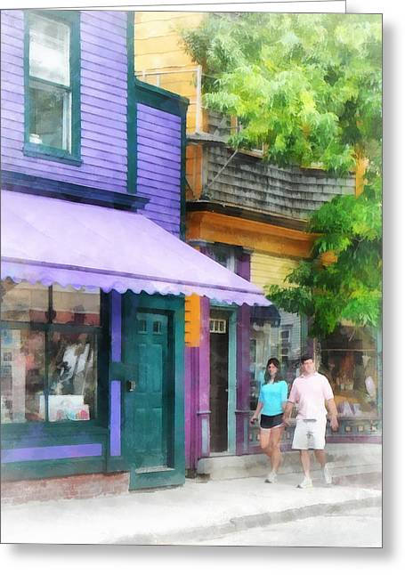 Purple Awnings Greeting Cards - Strolling Down Thames Street Newport RI Greeting Card by Susan Savad
