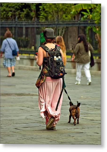 Dog Walking Greeting Cards - Strolling in Jackson Square Greeting Card by Steve Harrington