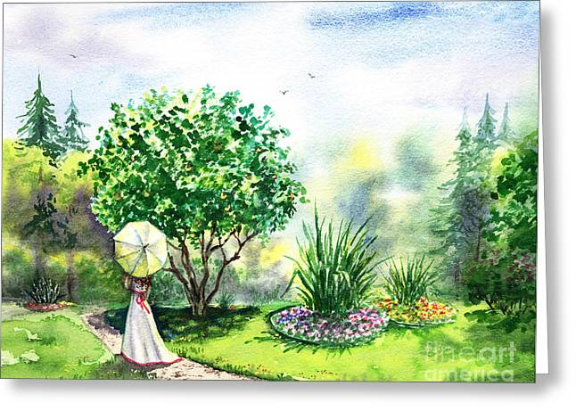 Whit Greeting Cards - Strolling In The Garden Greeting Card by Irina Sztukowski