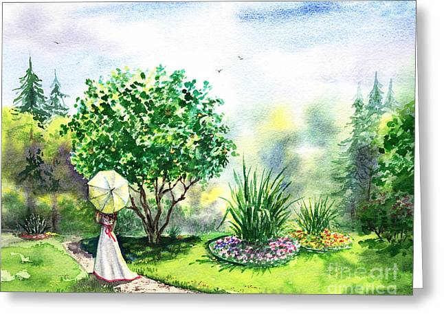 White Dress Greeting Cards - Strolling In The Garden Greeting Card by Irina Sztukowski