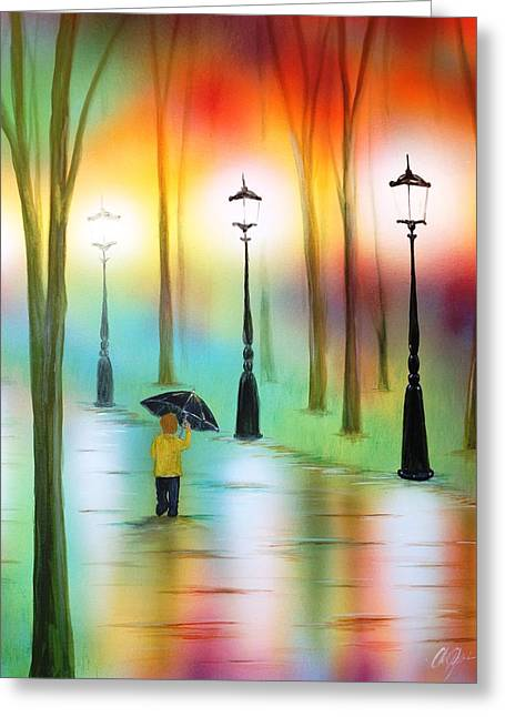 Oil Lamp Mixed Media Greeting Cards - Strolling in the Rain Greeting Card by Chris Fraser