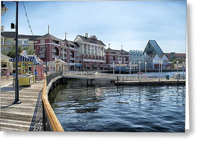 Wdw Greeting Cards - Strolling On The Boardwalk At Disney World Greeting Card by Thomas Woolworth
