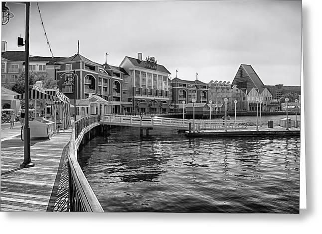 Epcot Center Greeting Cards - Strolling on the boardwalk in Black and White Walt Disney World Greeting Card by Thomas Woolworth