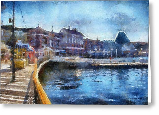 Hospital Theme Greeting Cards - Strolling On The Boardwalk WDW 02 Photo Art Greeting Card by Thomas Woolworth