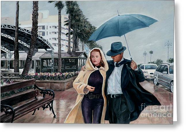 Film Noir Paintings Greeting Cards - Strolling On The Promenade Greeting Card by Theo Michael