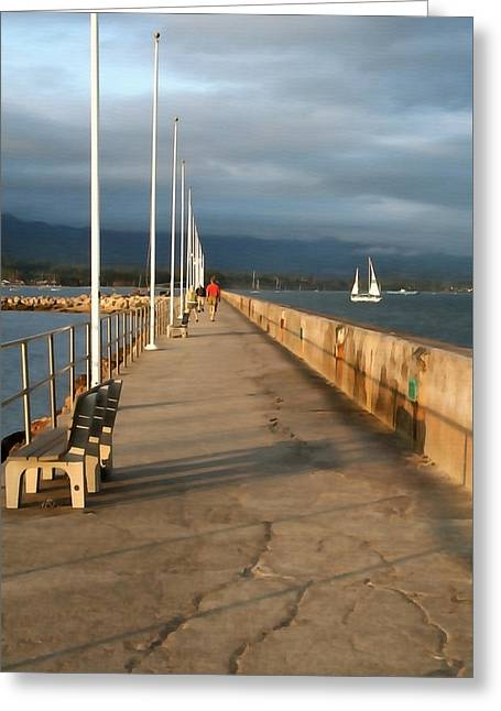 Santa Barbara Art Greeting Cards - Strolling the Breakwater Greeting Card by Art Block Collections