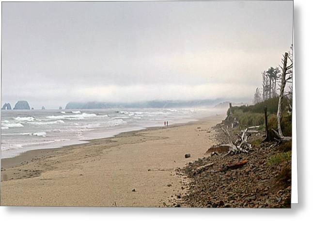 Couple Pyrography Greeting Cards - Strolling the Oregon Coast Greeting Card by DUG Harpster