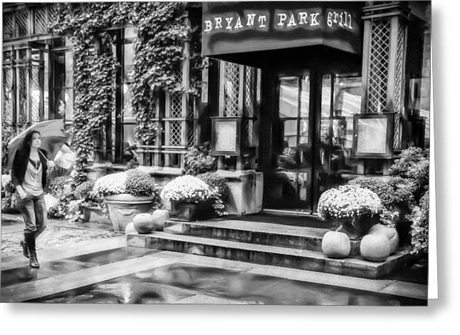 Bryant Greeting Cards - Strolling Through Bryant Park Black and White Greeting Card by Sharon Eisenzopf