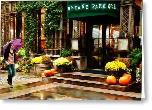 Bryant Greeting Cards - Strolling Through Bryant Park Greeting Card by Sharon Eisenzopf