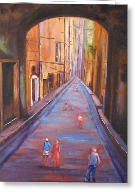 Menton Greeting Cards - Strolling Through Menton France Greeting Card by Diane Quee