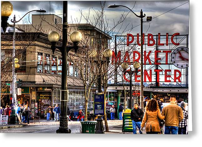 Seattle Landmarks Greeting Cards - Strolling Towards the Market - Seattle Washington Greeting Card by David Patterson