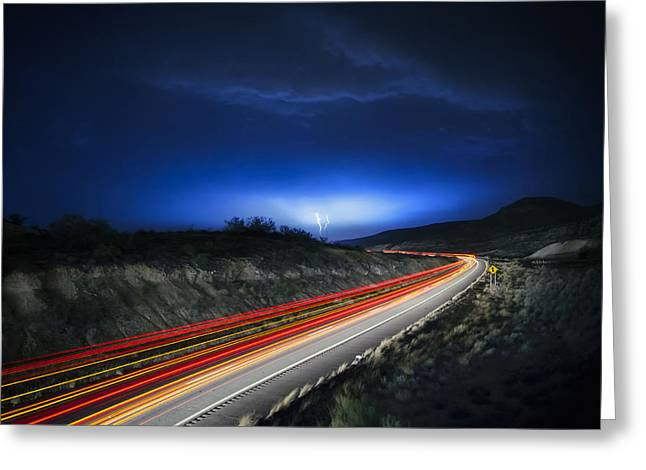 Highway Lights Greeting Cards - Storm Chasers Greeting Card by Sean Foster