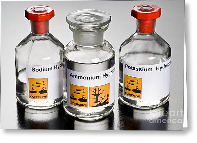 Hydroxide Greeting Cards - Strong Alkalis In Bottles Greeting Card by Martyn F. Chillmaid
