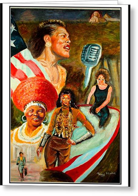 Blackart Greeting Cards - Strong Black Woman Greeting Card by Anthony Renardo Flake