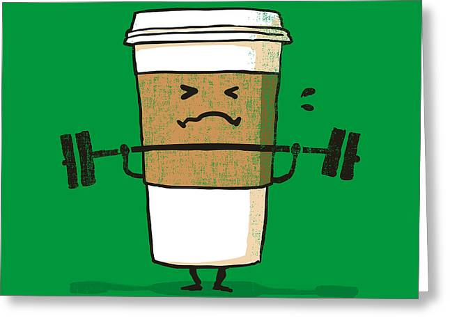 Muscles Greeting Cards - Strong Coffee Greeting Card by Budi Satria Kwan