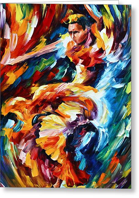 Latin Dance Greeting Cards - Strong Flamenco Greeting Card by Leonid Afremov