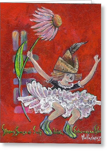 Outstretched Arm Paintings Greeting Cards - Strong Sense Of Self - Flower Essence Series Greeting Card by Maria Valladarez