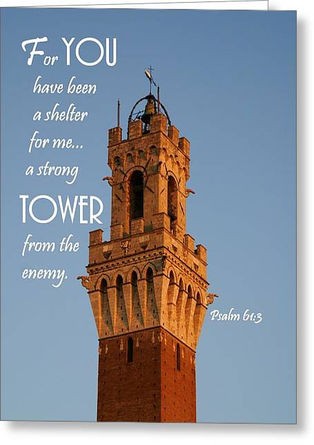 Sienna Italy Greeting Cards - Strong Tower Greeting Card by Barbara Stellwagen