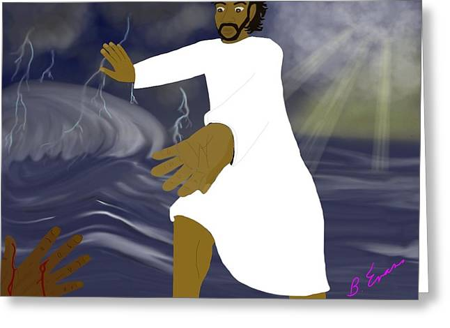 Jesus Walking On Water Greeting Cards - Stronger Than The Storm Greeting Card by Barbara Evans Robinson