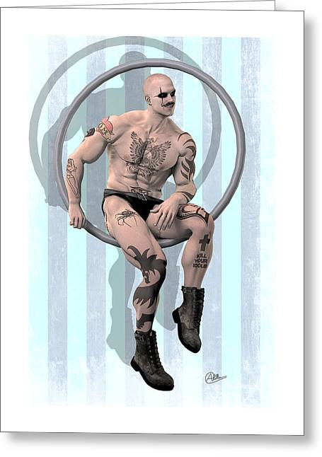 Macho Man Greeting Cards - Tightrope walker by Quim Abella Greeting Card by Joaquin Abella