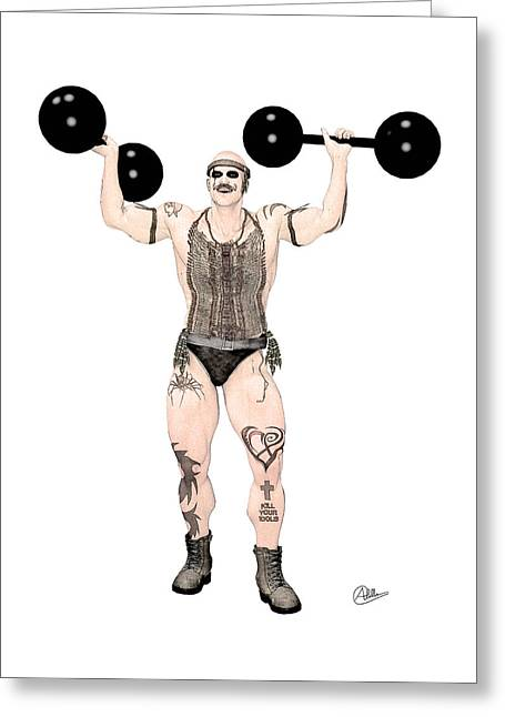 Buy Goods Greeting Cards - Strongest Man native  Greeting Card by Quim Abella