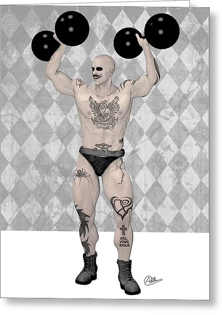 Macho Man Greeting Cards - Strongest Man weightlifter By Quim Abella Greeting Card by Joaquin Abella