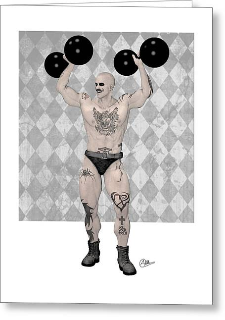 Buy Goods Greeting Cards - Strongest Man weightlifter  Greeting Card by Quim Abella