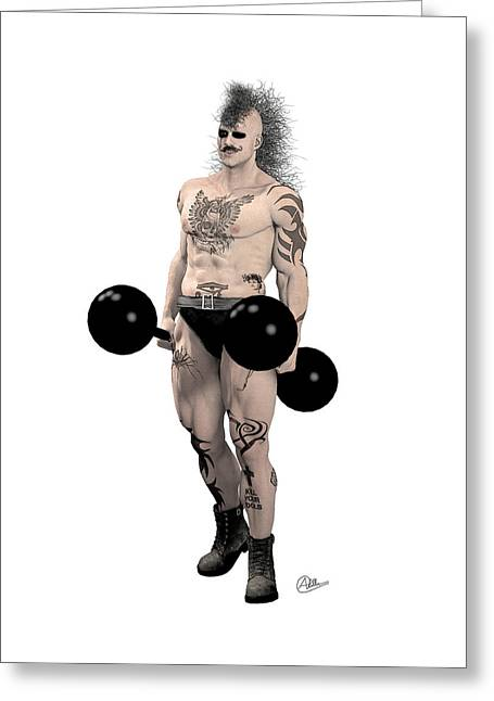 Muscleman Greeting Cards - Strongest Man Mohicans Greeting Card by Joaquin Abella