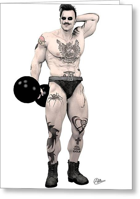 Tightrope Greeting Cards - Circus strongman by Quim Abella Greeting Card by Joaquin Abella