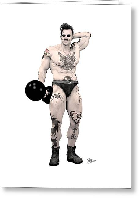 Buy Goods Greeting Cards - Circus strongman Greeting Card by Quim Abella
