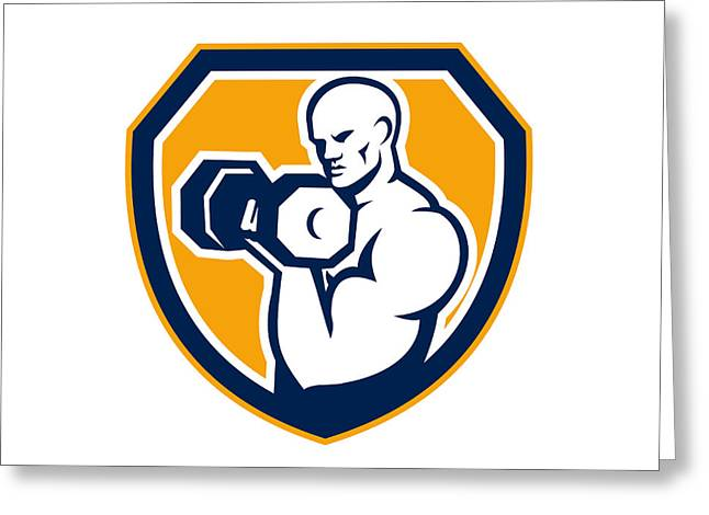Strongman Pumping Dumbbells Shield Retro Greeting Card by Aloysius Patrimonio