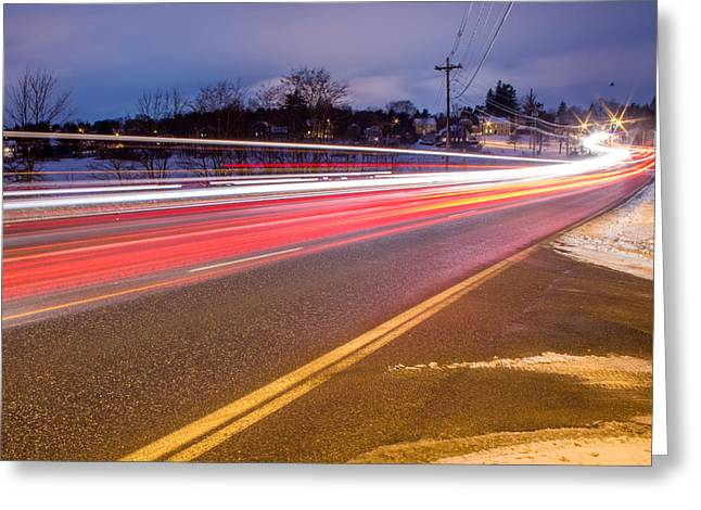 Winter In Maine Greeting Cards - Stroudwater Crossing Rush Hour Tonight Greeting Card by Stroudwater Falls Photography
