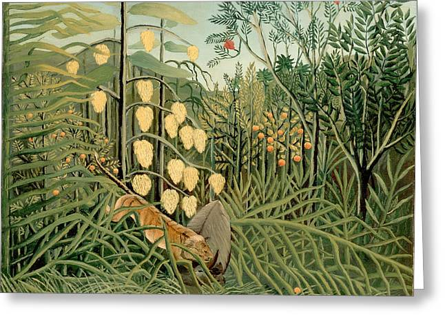 Struggling Paintings Greeting Cards - Struggle between Tiger and Bull Greeting Card by Henri Rousseau