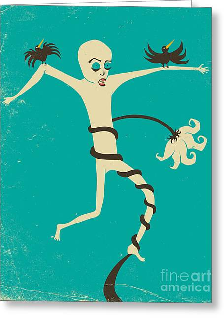 Pop Surrealism Greeting Cards - Struggle Greeting Card by Jazzberry Blue