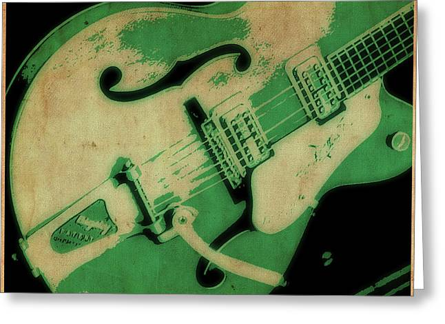 Tilly Art Greeting Cards - Strum in Green Greeting Card by Tilly Williams