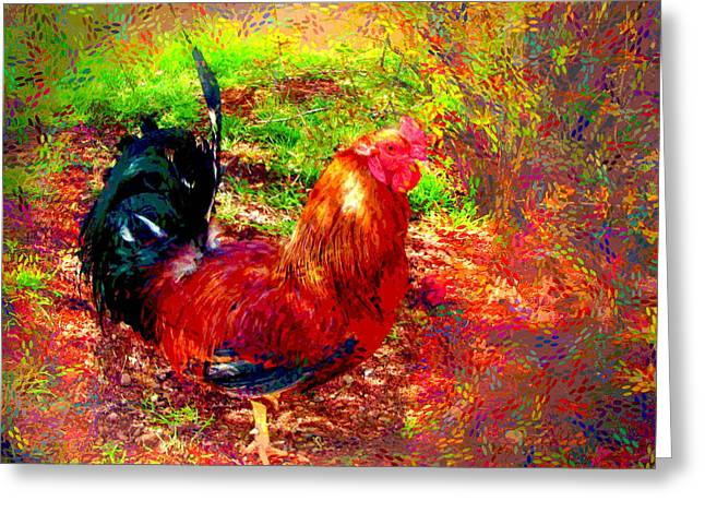 Spacial Greeting Cards - Strutting In Living Color Greeting Card by Joyce Dickens