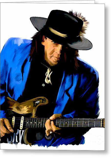 Photographs Drawings Greeting Cards - Strutting The Blues  Stevie Ray Vaughan Greeting Card by Iconic Images Art Gallery David Pucciarelli