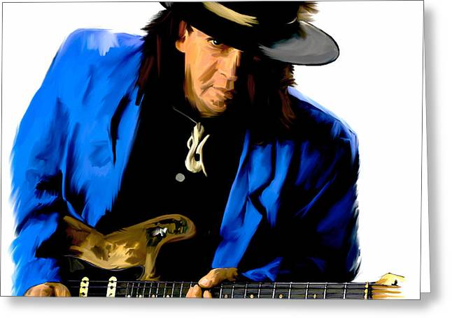 Photographs Drawings Greeting Cards - Strutting The Blues II  Stevie Ray Vaughan Greeting Card by Iconic Images Art Gallery David Pucciarelli