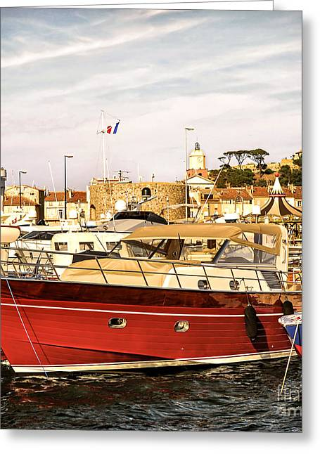 Village Views Greeting Cards - St.Tropez harbor Greeting Card by Elena Elisseeva