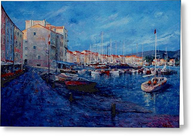 St.tropez Paintings Greeting Cards - St.Tropez  - Port -   France Greeting Card by Miroslav Stojkovic - Miro
