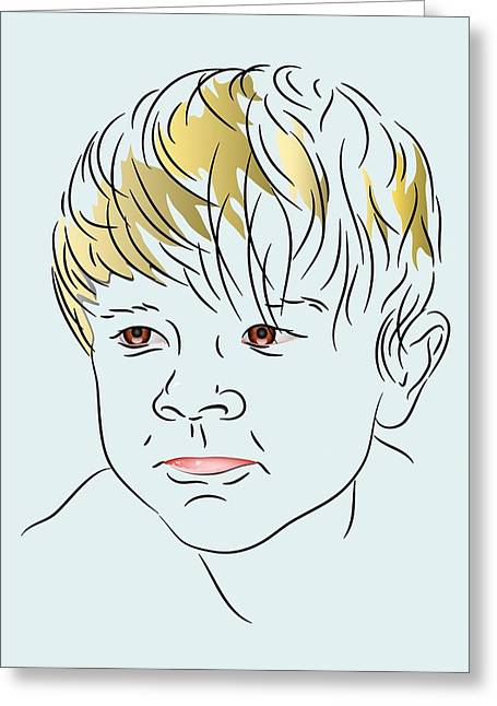 Portrait Of A Young Boy Greeting Cards - Stubborn Boy Greeting Card by MM Anderson